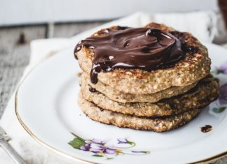 gluten free oatmeal chocolate chip cookie pancakes