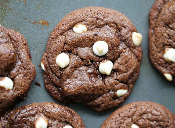 Chocolate Chocolate White Chocolate Chip Cookies recipe
